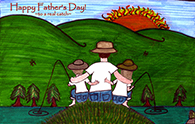 Fishing Dad Son and Daughter